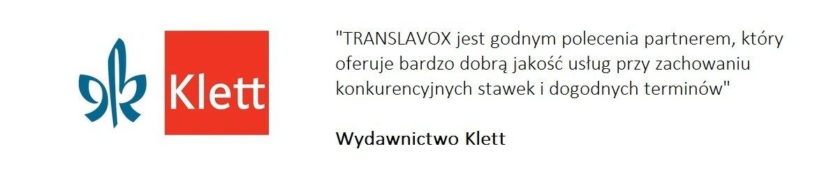 Wydawnictwo Klett poleca nasze biuro tłumaczeń